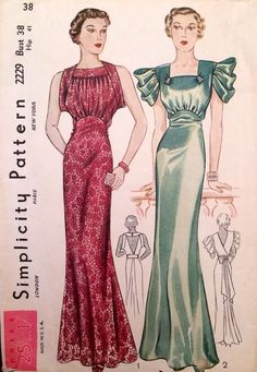 1930s Vintage Long Sleek Art Deco Low Back Evening Gown Sewing Pattern #2229 Green Red formal dress