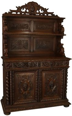 Antique French Hunting Style Server #antique #furniture #huntingstyle #heavilycarved #handcarved Antique Dining Tables, Dining Chairs, Traditional Dining Room Furniture, Francis I, French Antiques, Furniture Decor, Hunting, Style, Home Decor