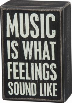 Primitives By Kathy Black Dist. Box Sign -' Music Is What Feelings Sound Like' ** For more information, visit image link. (This is an affiliate link) #DecorativeSigns