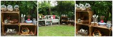 Mud kitchen (also known as an outdoor kitchen or mud pie kitchen) is one of the best resources in DIY projects for kids to play outside as kids playhouse. Mud Pie Kitchen, Mud Kitchen For Kids, Kitchen Ideas, Kitchen Inspiration, Outdoor Play Spaces, Outdoor Fun, Outdoor Ideas, Backyard Ideas, Outdoor Games