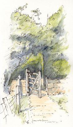 East Keswick, West Yorkshire gateway ~ sketch ~ John Edwards