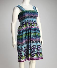 Take a look at this Light Blue & Purple & White Smocked Plus-Size Dress by Metro 22 on #zulily today!