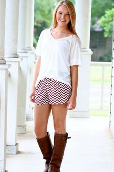 Chevron Shorts - Maroon via Hazel & Olive Hazel And Olive Boutique, Perfect Jeans, White Skinny Jeans, Skirt Pants, Stylish Girl, Printed Skirts, Get Dressed, Bell Bottoms