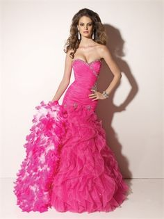 Mermaid Sweetheart Neckline Floor Length Organza with Ruffles Prom Dress PD10111