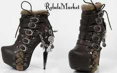 How do Steampunk sweethearts handle the cold? They rock badass footwear, of course!