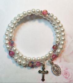 Pretty Feminine White Pearl Glass Beaded Rosary Bracelet, Catholic Rosary Bracelet, Memory Wire Bracelet, Catholic Gifts by LivAriaDesigns on Etsy