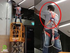 """ It's OK, the safety harness is tied to a safe place !and get off the cell phone! Construction Fails, Construction Safety, Electrician Humor, Safety Pictures, Safety Fail, Darwin Awards, You Had One Job, Safety Training, Workplace Safety"