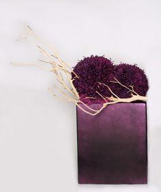 purple poms with manzanita-- very modern centerpiece