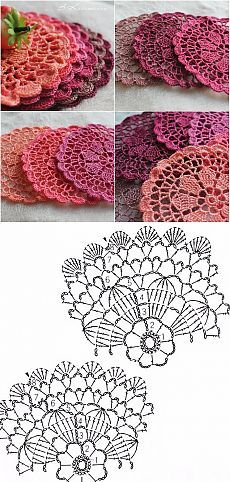 With free written pattern you can easily crochet Sunmote coasters and make you home interior more attractive and comfortable Crochet Circles, Crochet Doily Patterns, Crochet Diagram, Crochet Art, Crochet Squares, Thread Crochet, Crochet Designs, Crochet Crafts, Crochet Stitches