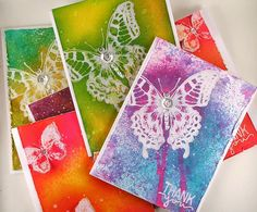 Gorgeous card set by Suzz for the Simon Says Stamp Monday challenge (Thank You) Miss You Cards, Thank You Cards, Butterfly Cards, Flower Cards, How To Make Decorations, Thanks For The Gift, Honey Bee Stamps, Paper Crafts, Diy Crafts