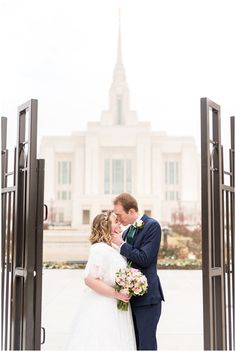 faadb659145 Bride and groom at Ogden temple gate