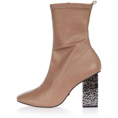 Topshop Haven Electroplated Heel Sock Boot (690 ZAR) ❤ liked on Polyvore featuring shoes, boots, nude, high heel shoes, leather high heel boots, topshop shoes, topshop boots and nude leather shoes