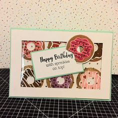 Anyone up for a box of doughnuts? Playing with the super cute Sugar Rush Cardmaking set again.