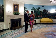 """May 5, 2010  """"After doing a series of posed photos, the President started joking around with the First Lady in the Diplomatic Reception Room of the White House before a Cinco de Mayo event."""" (Official White House Photo by Pete Souza)"""