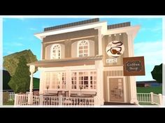 Cafe : : Bloxburg Town Series Two Story House Design, Tiny House Layout, Unique House Design, House Layouts, Modern Family House, Family House Plans, Home Building Design, Building A House, Cafe Exterior