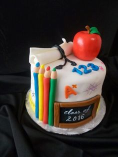 Graduated in preschool education. Cute cake was made by Rexburg cakes!