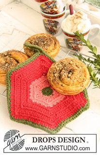 "Crochet DROPS pot holders, 1 round with bobbles and 1 hexagon pot holder, in ""Paris"". ~ DROPS Design"
