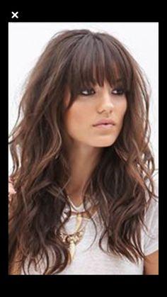 ideas hair brunette fringe beauty for 2019 Brunette Fringe, Brunette Bangs, Long Layered Hair, Long Hair Cuts, Long Hair With Bangs And Layers, Hairstyles With Bangs, Pretty Hairstyles, Haircuts, Medium Hair Styles