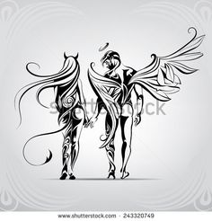 Angels and Demons in the ornament - stock vector