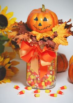 halloween silverware holder | Cozy Home Scenes made this cute Halloween Pumpkin Gift Jar .