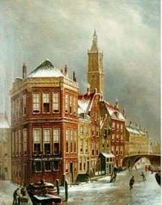 Oene Romkes de Jongh (Makkum 1812-1896 Amsterdam) Gezicht op 't Kolkje te Amsterdam - Kunsthandel Simonis en Buunk, Ede (Nederland).