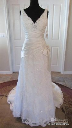 Love this mix of Satin and lace!!!  Wholesale Wedding Dress - Buy Sexy V-Neck Trumpet Alaina Lace Wedding Dress Beaded Crystals Corset Chapel Train Bridal Gown J1531, $197.16 | DHgate