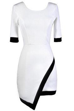 #Lily Boutique - #Lily Boutique Contrast Trim Crossover Hemline Pencil Dress in White - AdoreWe.com
