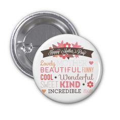 Happy Mother's day typography design Buttons