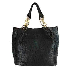 Black HANDBAG CROCODILE PRINT/HIGH QUALITY FAUX LEATHER /DOUBLE TOP HANDLE WITH LINKED GOLD CHAIN/INSIDE ZIP POCKET /L 20 INCH X W 14 INCH Bags