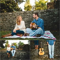 Fall engagement photos with a guitar and books. Click to view more! Photos by JoPhoto associate photographer Erin.