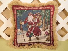 Old Fashioned Santa Claus Tapestry Pillow in Burgundy Red and Blue   | JRsPillowsandBags - Housewares on ArtFire #afpounce