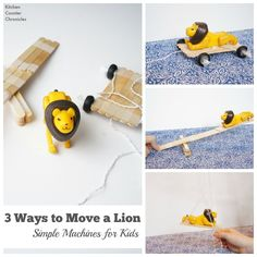24 Elementary Force and Motion Experiments and Activities -simple machines challenge Stem Projects, Science Projects, Projects For Kids, Crafts For Kids, Science Experiments, Preschool Themes, Stem Activities, Activities For Kids, Preschool Science