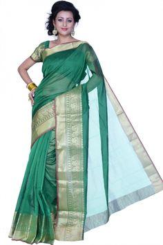 Pine Green Chanderi Cotton Handloom Party and Festival Saree Sku Code:367-4176SA503669 $ 33.00