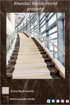 Maroon Emperador and Crema Marfil marble staircase. Staircase Design Modern, Home Stairs Design, Stair Railing Design, Interior Stairs, Tiled Staircase, Tile Stairs, Staircase Railings, Wooden Stairs, Staircases