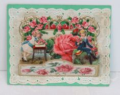 Victorian Vintage Valentine, Pull Down, Roses, Paper Lace & a Gilded Border