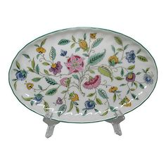 Pre-Owned Minton Haddon Hall Catchall ($75) ❤ liked on Polyvore featuring home, home decor, decorative accessories, multi, floral home decor, oval bowl and floral bowl