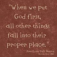 ...put God first...