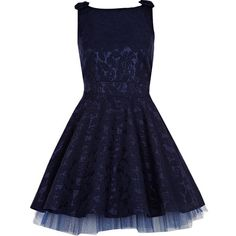 River Island Navy Lace Bow Shoulder Mini Prom Dress ($110) ❤ liked on Polyvore