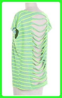 $33.99 Neon Green Striped Top with Cutout Back #sassyriley