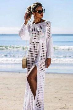 fd7790aa4d Crochet White Knitted Beach Cover Dress – Simple Craze Cheap Beach Cover Ups,  Long Beach