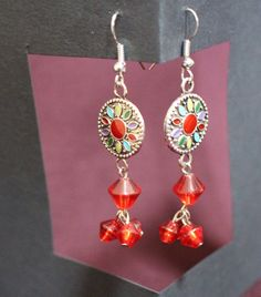 Flower Pendant with Red Beads Earrings by APromisedHope on Etsy