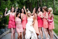 La vie en rose #bridesmaids #pink #dresses