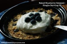 Baked Blueberry Oatmeal- Single Serving (E) A single serving to a favorite recipe!  Low Carb, sugar free
