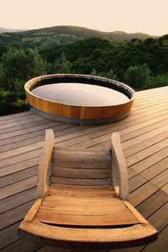 Imagine relaxing and recharging your batteries here. Vicarello Italy outdoor bath tub