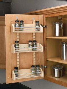 """Rev-A-Shelf 4ASR Adjustable Door Mount Spice Rack With Standard - 16.12"""" Width - Wood by Rev-A-Shelf. $83.99. Rev-A-Shelf 4ASR Adjustable Door Mount Spice Rack features adjustable shelves, a UV-Cured Clear finish, chrome rails and two standards.RAS 4ASR is available in three different width sizes, made of wood."""