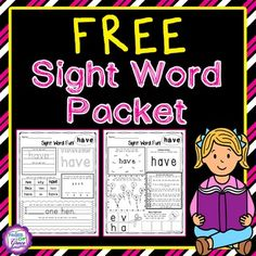 Do you need ideas for teaching sight words? This packet is full of 12 fun activities to help your students master sight words! It includes 2 worksheets for each word. My kids love to practice their sight words with these engaging printables. Great for preschool, kindergarten, and first grade. Click on the picture to download this FREE packet!