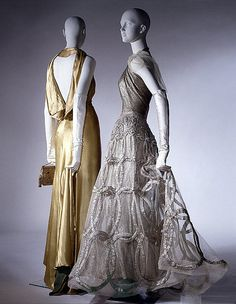 1938, France - Evening dress by Madeleine Vionnet (right) - Metal thread