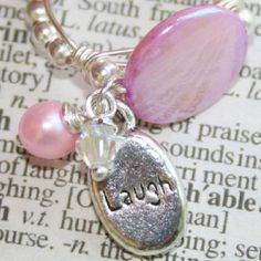 Inspirational Stamped Charm and Pink Mother Of Pearl Ring in 925 Silver Szs 5 - 10 by Maru