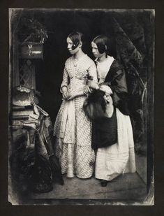 'Robert Adamson and David Octavius Hill photograph Agnes and Ellen Milne, ca. 1845.' What a change in just a few decades! After all that upright posture in the C18th now women slump and look meek, their faces half-concealed by curtains of smooth, oiled hair.