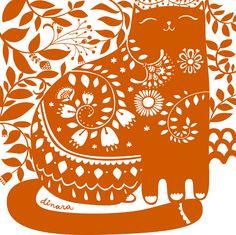 orange cat illustration by mirdinara. folk art style, doodle style...cute!